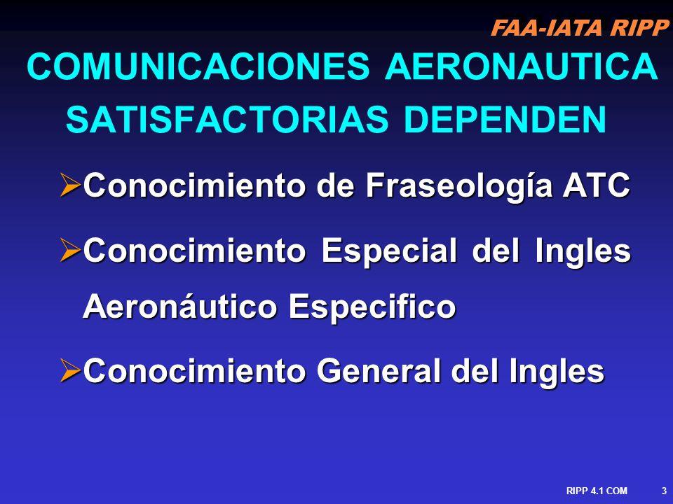 FAA-IATA RIPP RIPP 4.1 COM4 LENGUA INGLESA & FRASELOGIA Diferencias entre Lengua Inglesa Común & Fraseología del Control de Trafico Aéreo Diferencias entre Lengua Inglesa Común & Fraseología del Control de Trafico Aéreo