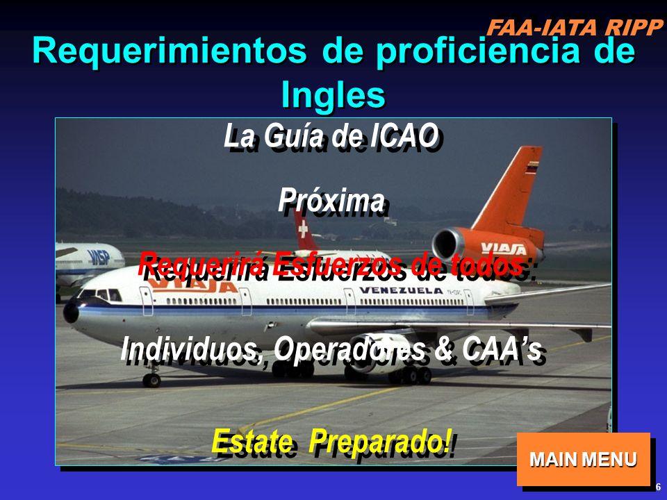 FAA-IATA RIPP RIPP 4.1 COM36 Requerimientos de proficiencia de Ingles La Guía de ICAO Próxima Requerirá Esfuerzos de todos: Individuos, Operadores & CAAs Estate Preparado.