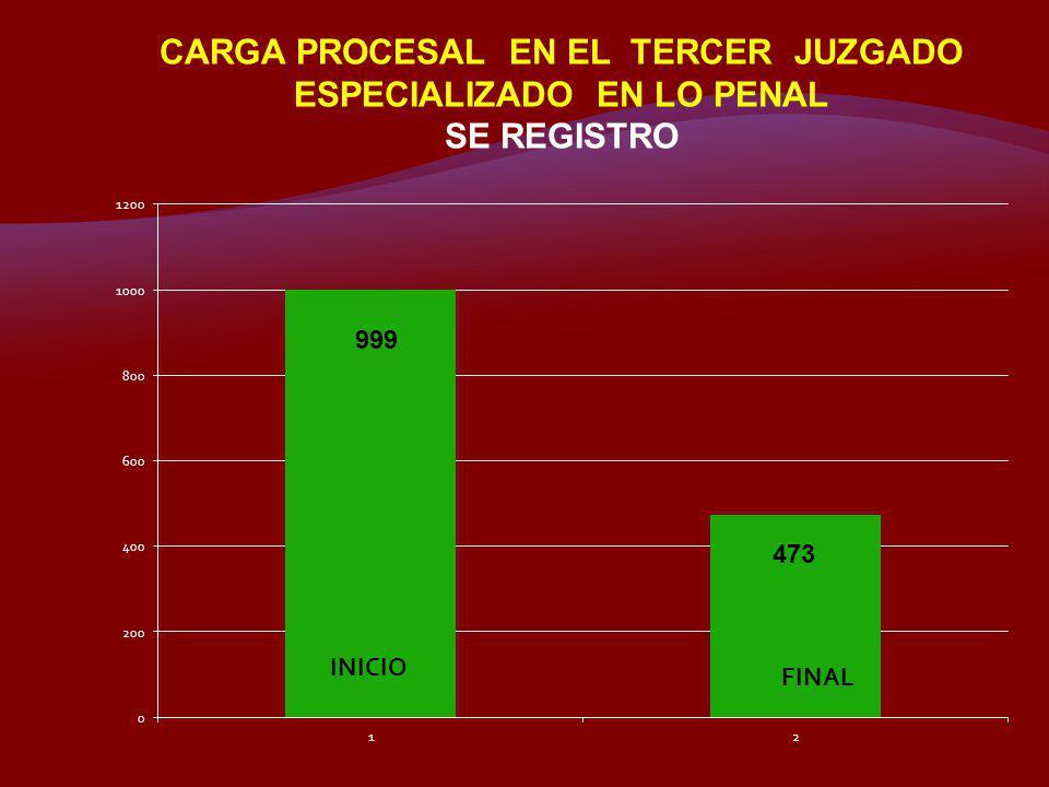 CARGA PROCESAL EN EL TERCER JUZGADO ESPECIALIZADO EN LO PENAL SE REGISTRO 999 473 INICIO FINAL