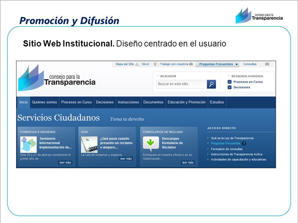 Promoción y Difusión Sitio Web Institucional. Diseño centrado en el usuario