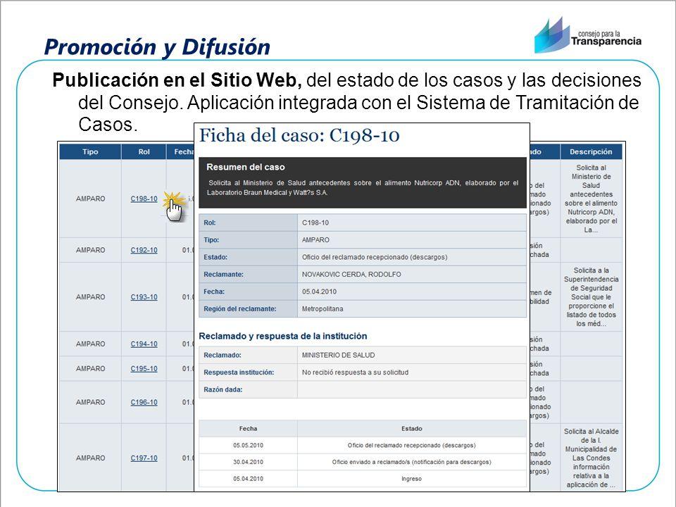 Promoción y Difusión Publicación en el Sitio Web, del estado de los casos y las decisiones del Consejo. Aplicación integrada con el Sistema de Tramita