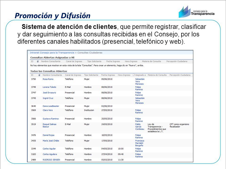 Promoción y Difusión Sistema de atención de clientes, que permite registrar, clasificar y dar seguimiento a las consultas recibidas en el Consejo, por
