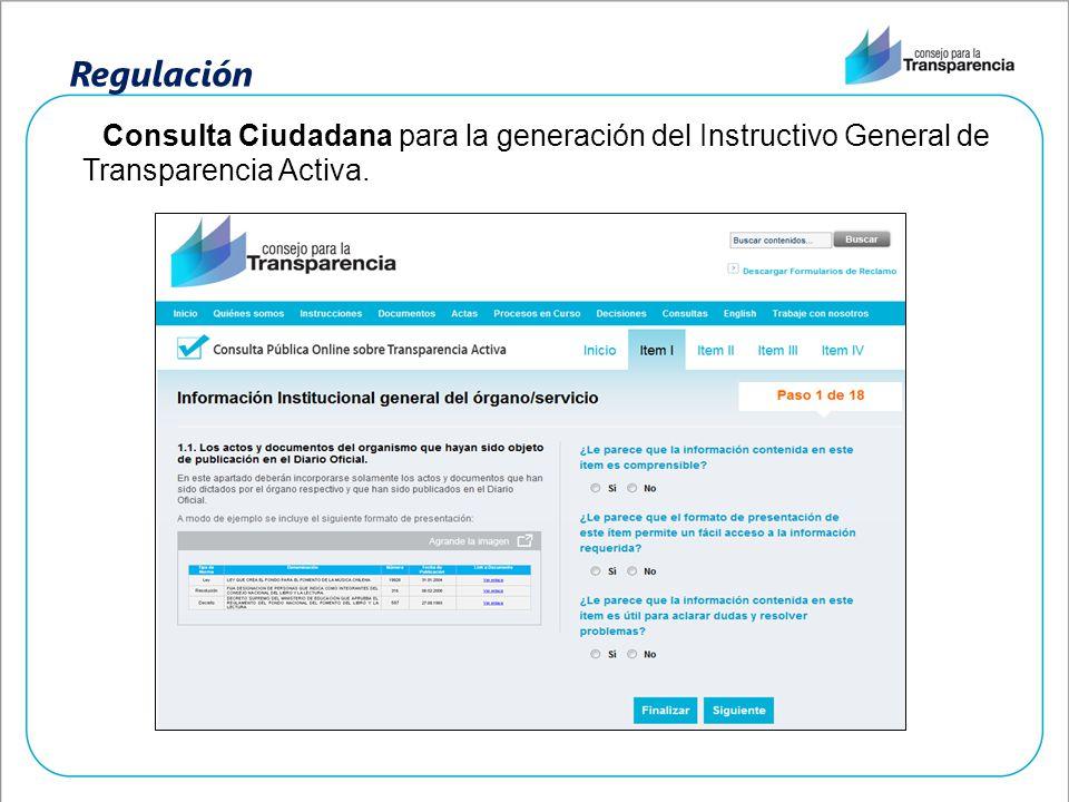 Regulación Consulta Ciudadana para la generación del Instructivo General de Transparencia Activa.