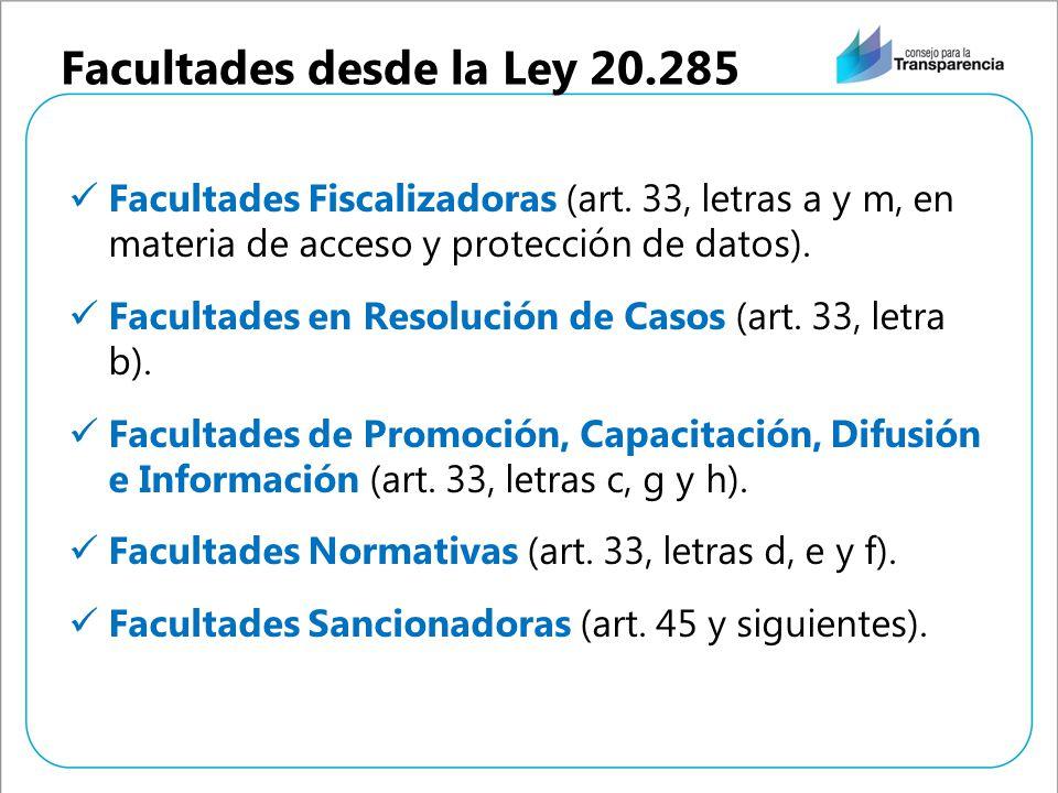 Facultades desde la Ley 20.285 Facultades Fiscalizadoras (art. 33, letras a y m, en materia de acceso y protección de datos). Facultades en Resolución