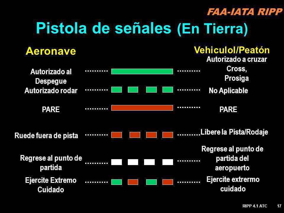 RIPP 4.1 ATC17 Vehiculol/Peatón Autorizado al Despegue PARE Autorizado rodar Ruede fuera de pista Regrese al punto de partida Ejercite Extremo Cuidado