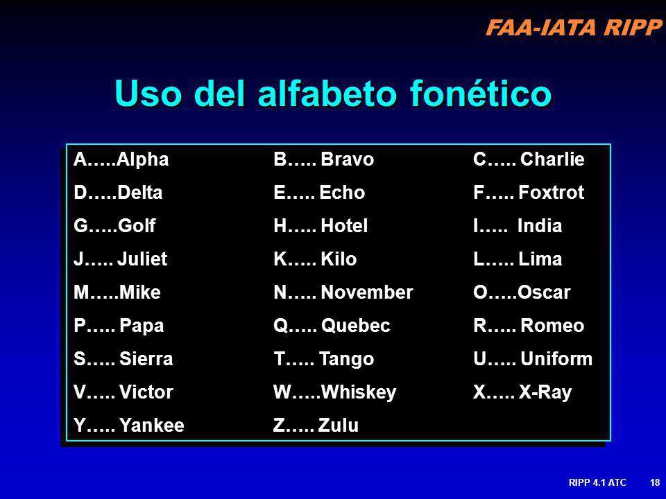 FAA-IATA RIPP RIPP 4.1 ATC18 Uso del alfabeto fonético A…..AlphaB….. BravoC….. Charlie D…..DeltaE….. EchoF….. Foxtrot G…..GolfH….. HotelI….. India J….