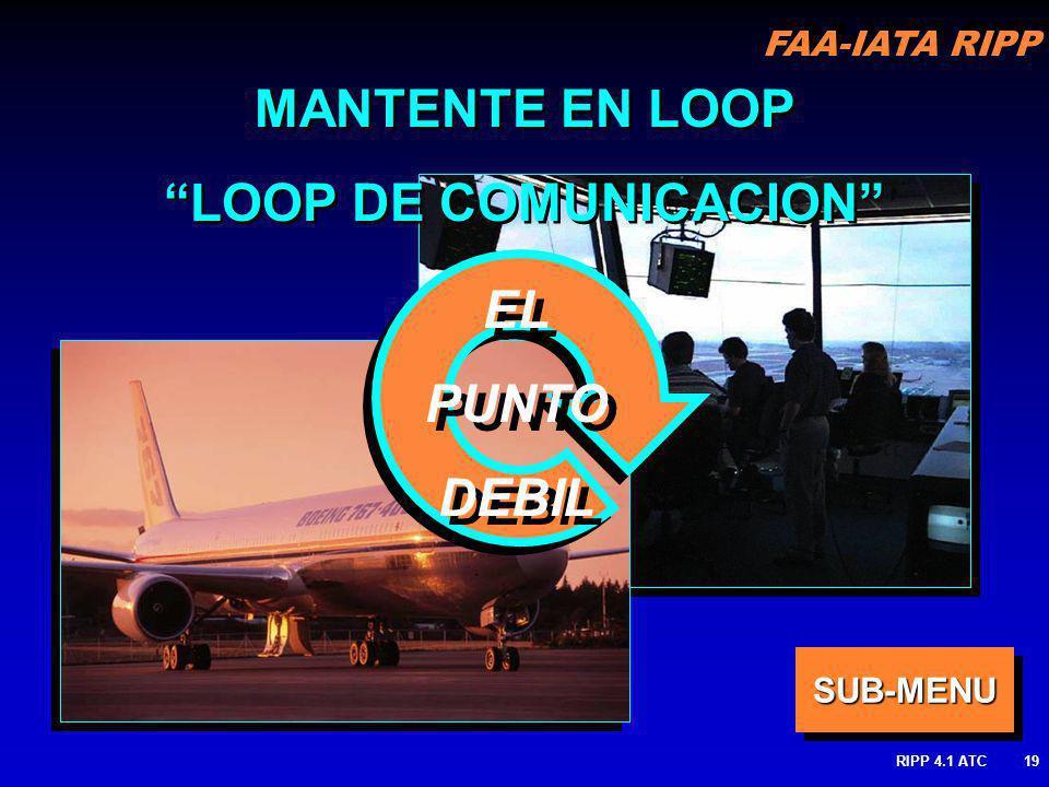 FAA-IATA RIPP RIPP 4.1 ATC19 MANTENTE EN LOOP LOOP DE COMUNICACION MANTENTE EN LOOP LOOP DE COMUNICACION EL PUNTO DEBIL EL PUNTO DEBIL SUB-MENU