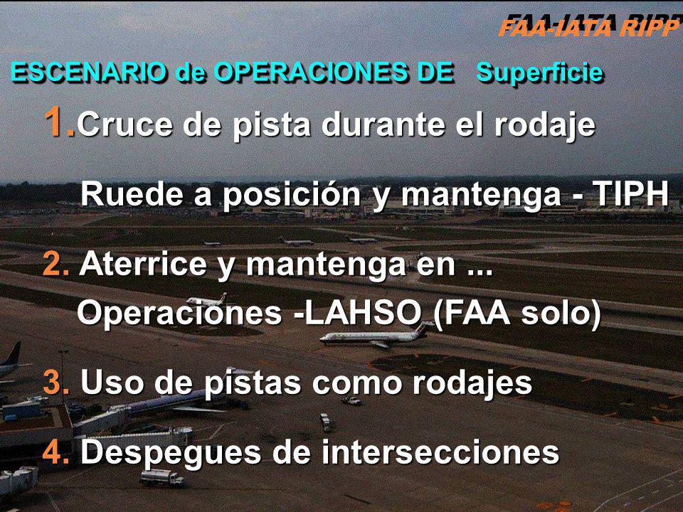 FAA-IATA RIPP RIPP 4.1 ATC2 ESCENARIO de OPERACIONES DE Superficie 1. Cruce de pista durante el rodaje Ruede a posición y mantenga - TIPH Ruede a posi