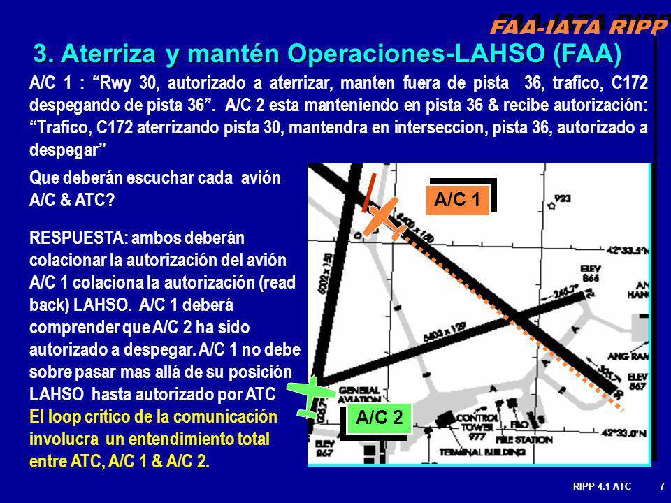 FAA-IATA RIPP RIPP 4.1 ATC7 A/C 1 : Rwy 30, autorizado a aterrizar, manten fuera de pista 36, trafico, C172 despegando de pista 36.