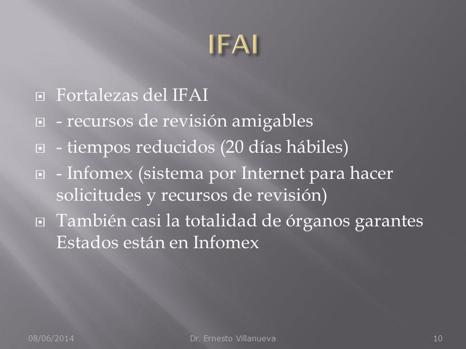 Fortalezas del IFAI - recursos de revisión amigables - tiempos reducidos (20 días hábiles) - Infomex (sistema por Internet para hacer solicitudes y recursos de revisión) También casi la totalidad de órganos garantes Estados están en Infomex 08/06/2014Dr.