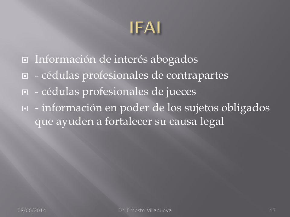 Información de interés abogados - cédulas profesionales de contrapartes - cédulas profesionales de jueces - información en poder de los sujetos obligados que ayuden a fortalecer su causa legal 08/06/2014Dr.