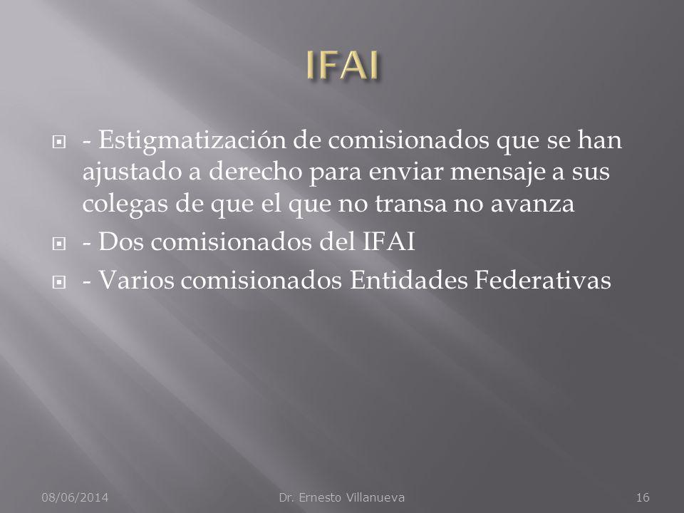 - Estigmatización de comisionados que se han ajustado a derecho para enviar mensaje a sus colegas de que el que no transa no avanza - Dos comisionados del IFAI - Varios comisionados Entidades Federativas 08/06/2014Dr.