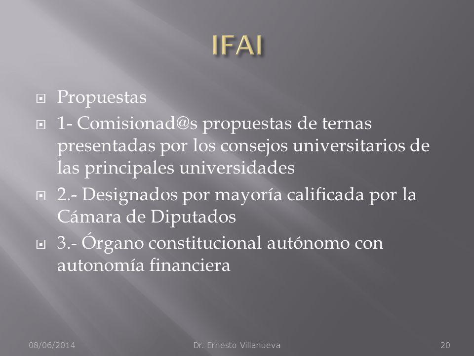 Propuestas 1- Comisionad@s propuestas de ternas presentadas por los consejos universitarios de las principales universidades 2.- Designados por mayorí