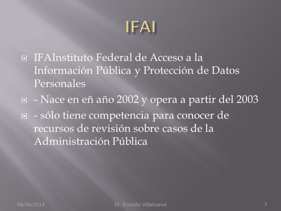 IFAInstituto Federal de Acceso a la Información Pública y Protección de Datos Personales - Nace en eñ año 2002 y opera a partir del 2003 - sólo tiene competencia para conocer de recursos de revisión sobre casos de la Administración Pública 08/06/2014Dr.