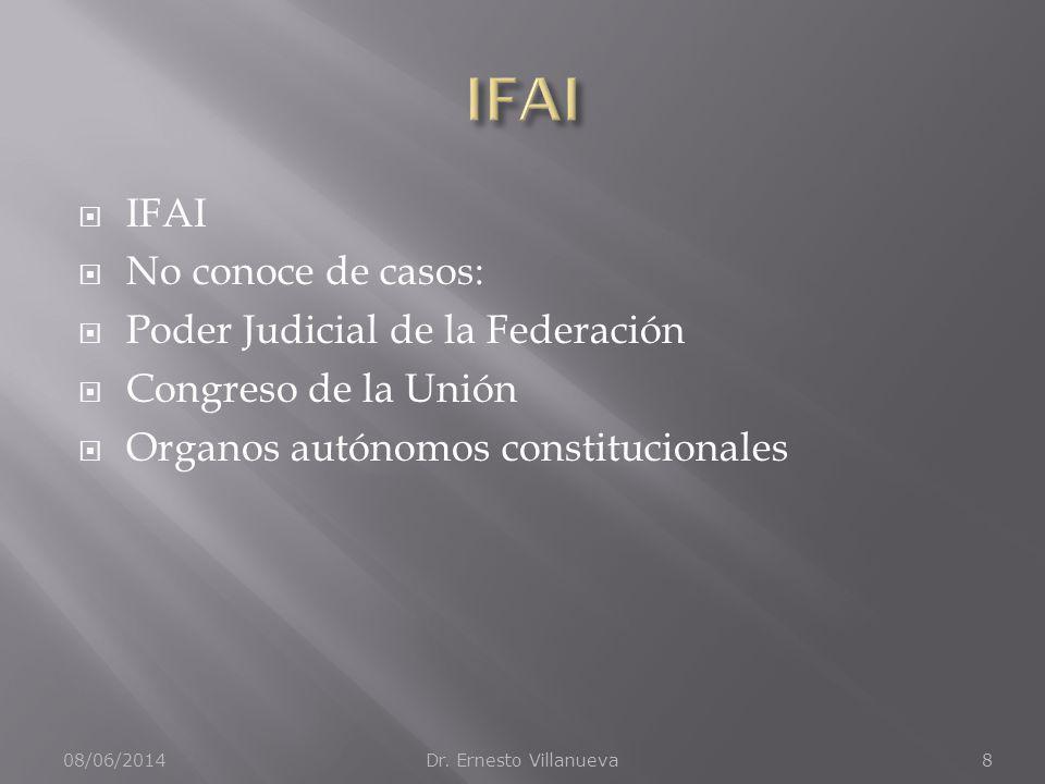 IFAI No conoce de casos: Poder Judicial de la Federación Congreso de la Unión Organos autónomos constitucionales 08/06/2014Dr. Ernesto Villanueva8
