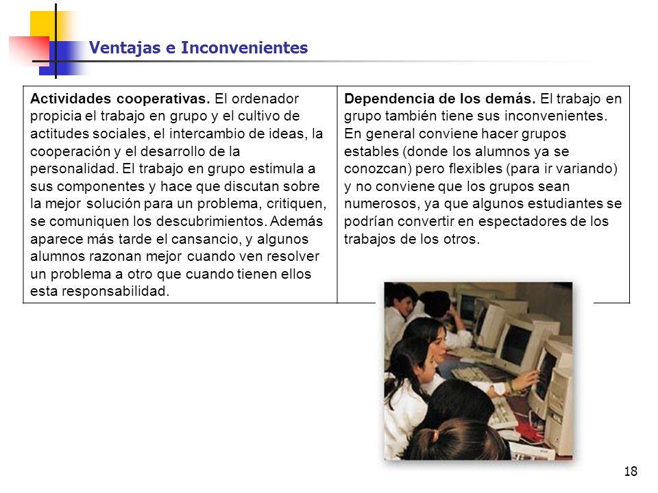 18 Actividades cooperativas. El ordenador propicia el trabajo en grupo y el cultivo de actitudes sociales, el intercambio de ideas, la cooperación y e