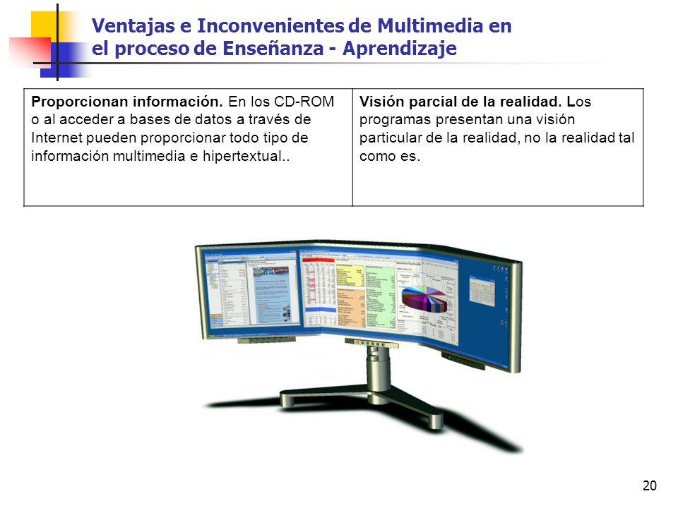 20 Proporcionan información. En los CD-ROM o al acceder a bases de datos a través de Internet pueden proporcionar todo tipo de información multimedia