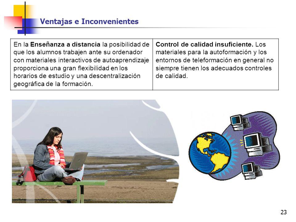 23 Ventajas e Inconvenientes En la Enseñanza a distancia la posibilidad de que los alumnos trabajen ante su ordenador con materiales interactivos de a
