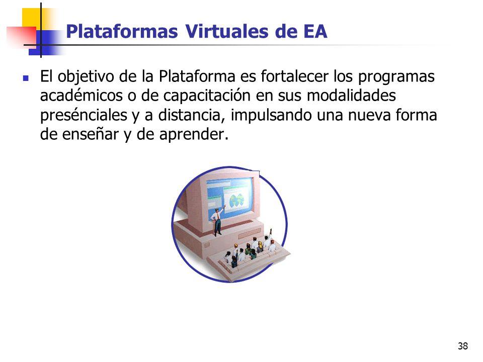 38 Plataformas Virtuales de EA El objetivo de la Plataforma es fortalecer los programas académicos o de capacitación en sus modalidades presénciales y