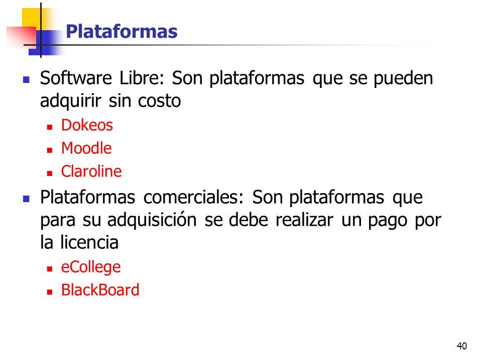 40 Plataformas Software Libre: Son plataformas que se pueden adquirir sin costo Dokeos Moodle Claroline Plataformas comerciales: Son plataformas que p