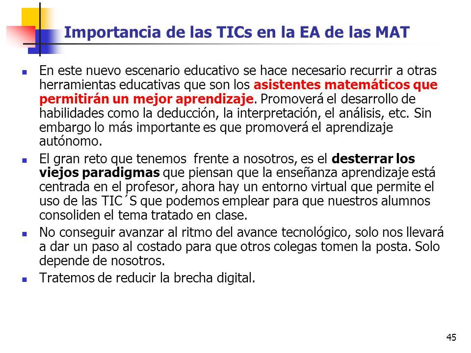 45 Importancia de las TICs en la EA de las MAT En este nuevo escenario educativo se hace necesario recurrir a otras herramientas educativas que son lo