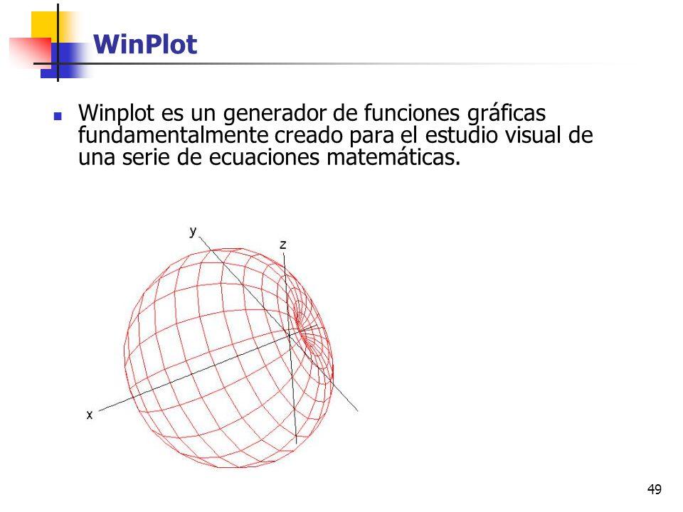 49 WinPlot Winplot es un generador de funciones gráficas fundamentalmente creado para el estudio visual de una serie de ecuaciones matemáticas.
