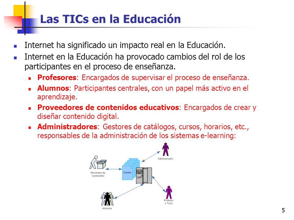 5 Las TICs en la Educación Internet ha significado un impacto real en la Educación. Internet en la Educación ha provocado cambios del rol de los parti