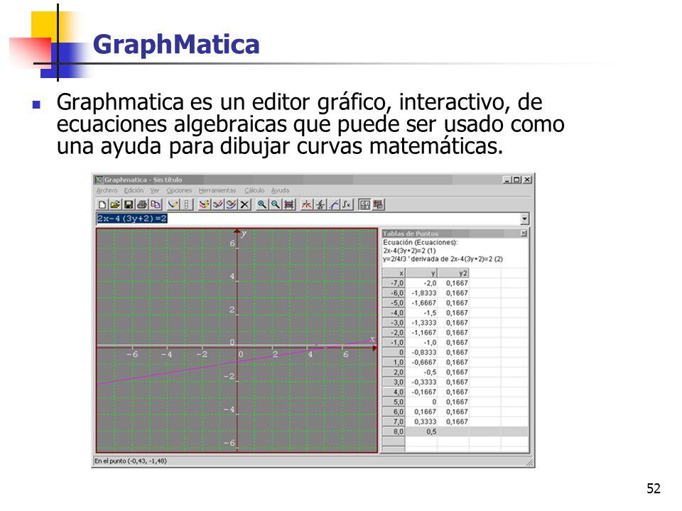 52 GraphMatica Graphmatica es un editor gráfico, interactivo, de ecuaciones algebraicas que puede ser usado como una ayuda para dibujar curvas matemát
