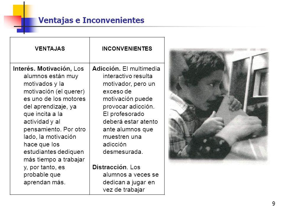 9 VENTAJASINCONVENIENTES Interés. Motivación, Los alumnos están muy motivados y la motivación (el querer) es uno de los motores del aprendizaje, ya qu