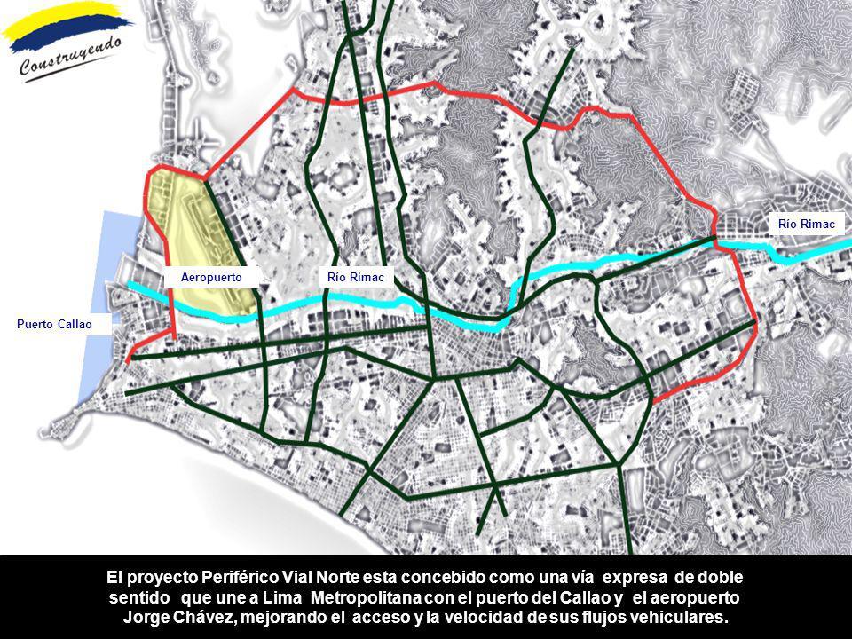 El proyecto Periférico Vial Norte esta concebido como una vía expresa de doble sentido que une a Lima Metropolitana con el puerto del Callao y el aero