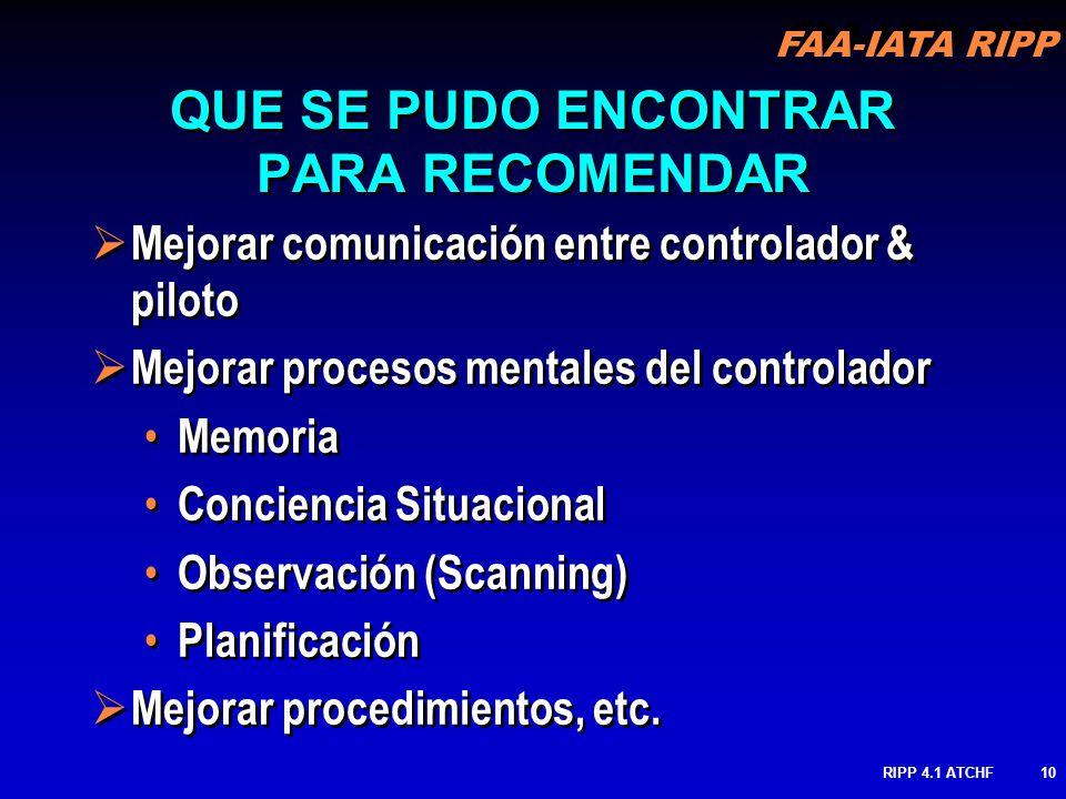 FAA-IATA RIPP RIPP 4.1 ATCHF10 Mejorar comunicación entre controlador & piloto Mejorar procesos mentales del controlador Memoria Conciencia Situaciona