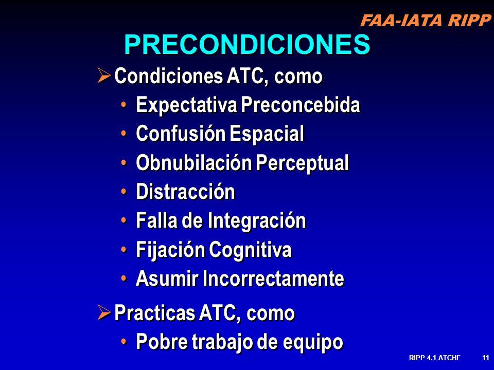 FAA-IATA RIPP RIPP 4.1 ATCHF11 PRECONDICIONES Condiciones ATC, como Expectativa Preconcebida Confusión Espacial Obnubilación Perceptual Distracción Fa