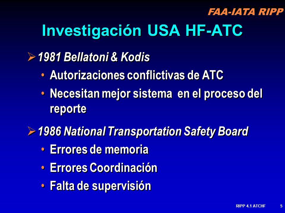 FAA-IATA RIPP RIPP 4.1 ATCHF6 1990 Grupo de trabajo de Factores Humanos Errores de Controlador & Piloto Comunicaciones Piloto-controlador 2000 Equipo Adjunto de Análisis de Seguridad de Pista Perdida de Conciencia Situacional Procedimientos ATC Comunicaciones Pobres Técnicas Mejoradas de Colección de datos 1990 Grupo de trabajo de Factores Humanos Errores de Controlador & Piloto Comunicaciones Piloto-controlador 2000 Equipo Adjunto de Análisis de Seguridad de Pista Perdida de Conciencia Situacional Procedimientos ATC Comunicaciones Pobres Técnicas Mejoradas de Colección de datos Investigación USA HF-ATC