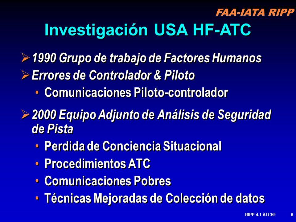 FAA-IATA RIPP RIPP 4.1 ATCHF7 2001 Cardosi & Yost Observación pobre de A/C Coordinación Pobre entre controladores Desentendimientos de Comunicación entre pilotos & controladores Técnicas Mejoradas de Colección de datos 2001 Cardosi & Yost Observación pobre de A/C Coordinación Pobre entre controladores Desentendimientos de Comunicación entre pilotos & controladores Técnicas Mejoradas de Colección de datos Investigación USA HF-ATC