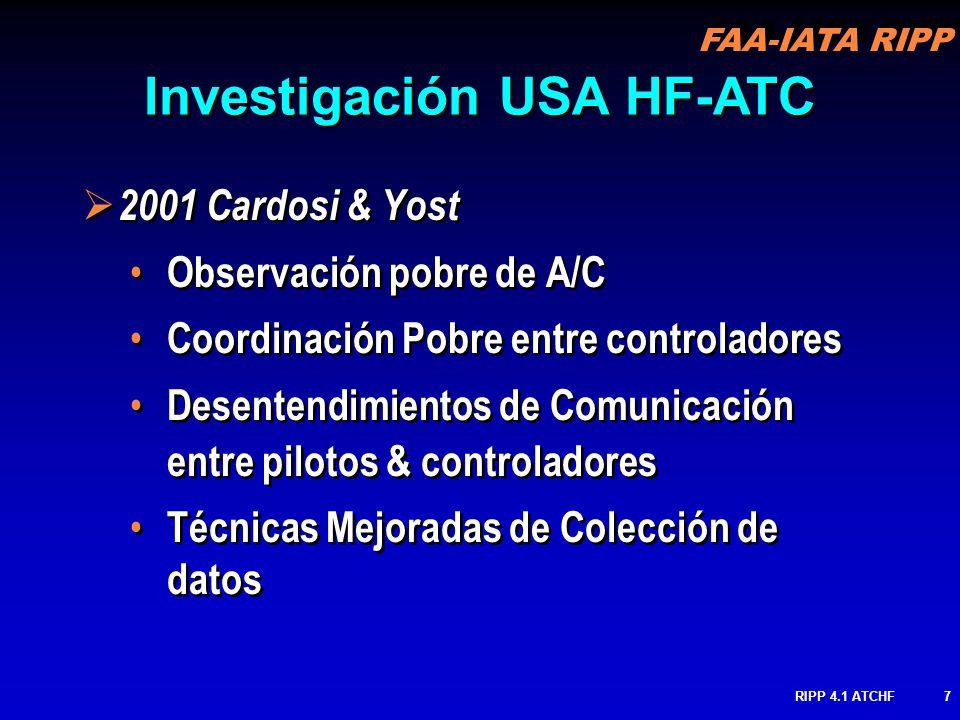 FAA-IATA RIPP RIPP 4.1 ATCHF7 2001 Cardosi & Yost Observación pobre de A/C Coordinación Pobre entre controladores Desentendimientos de Comunicación en