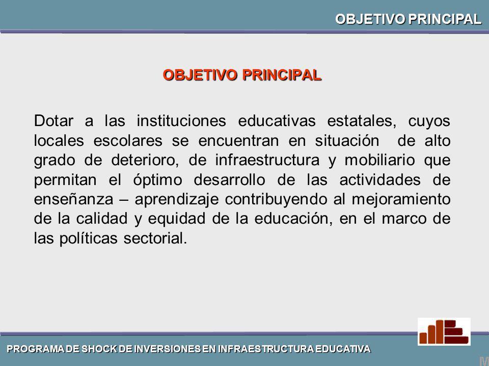 OBJETIVO PRINCIPAL Dotar a las instituciones educativas estatales, cuyos locales escolares se encuentran en situación de alto grado de deterioro, de i