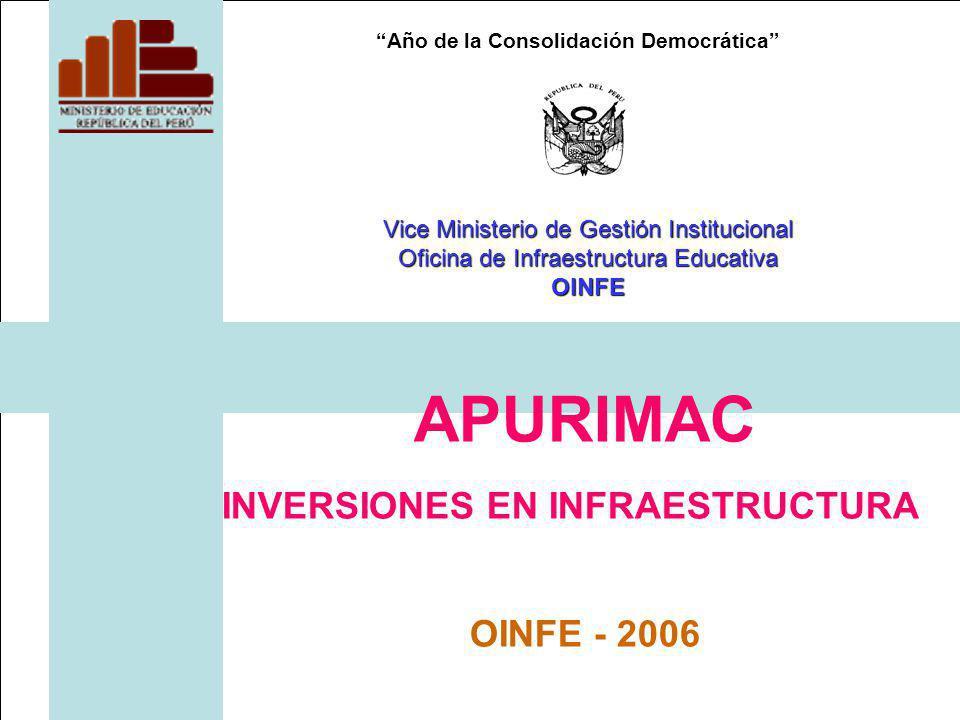 Año de la Consolidación Democrática APURIMAC INVERSIONES EN INFRAESTRUCTURA OINFE - 2006 Vice Ministerio de Gestión Institucional Oficina de Infraestructura Educativa OINFE