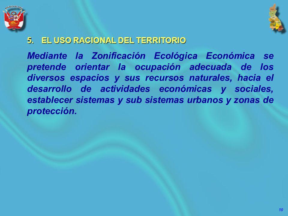 10 5.EL USO RACIONAL DEL TERRITORIO Mediante la Zonificación Ecológica Económica se pretende orientar la ocupación adecuada de los diversos espacios y