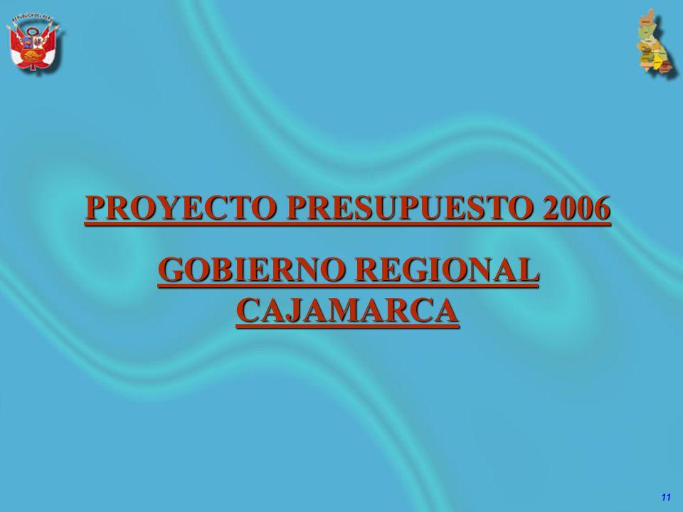 11 PROYECTO PRESUPUESTO 2006 GOBIERNO REGIONAL CAJAMARCA