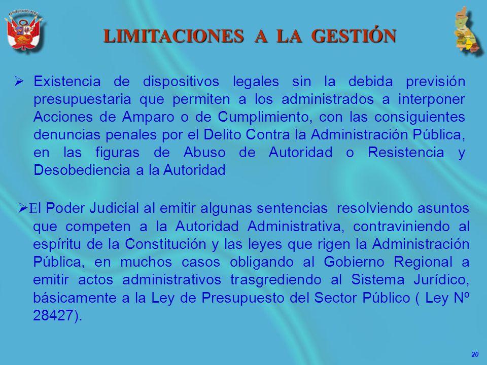 20 LIMITACIONES A LA GESTIÓN E l Poder Judicial al emitir algunas sentencias resolviendo asuntos que competen a la Autoridad Administrativa, contravin