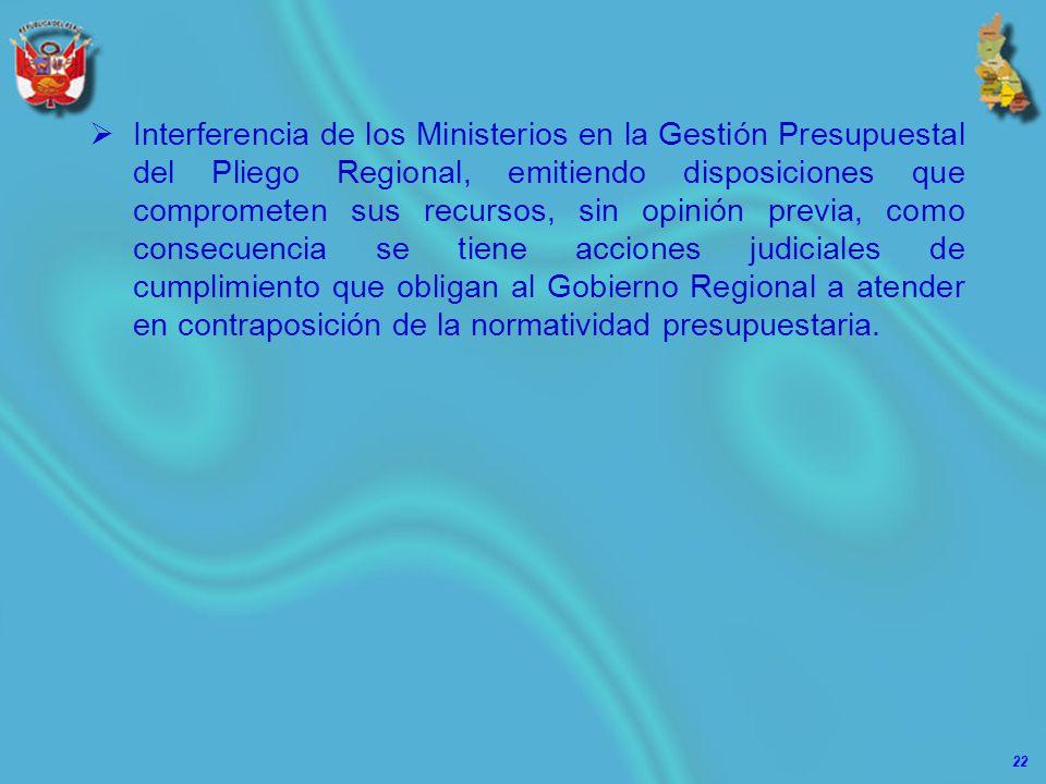 22 Interferencia de los Ministerios en la Gestión Presupuestal del Pliego Regional, emitiendo disposiciones que comprometen sus recursos, sin opinión