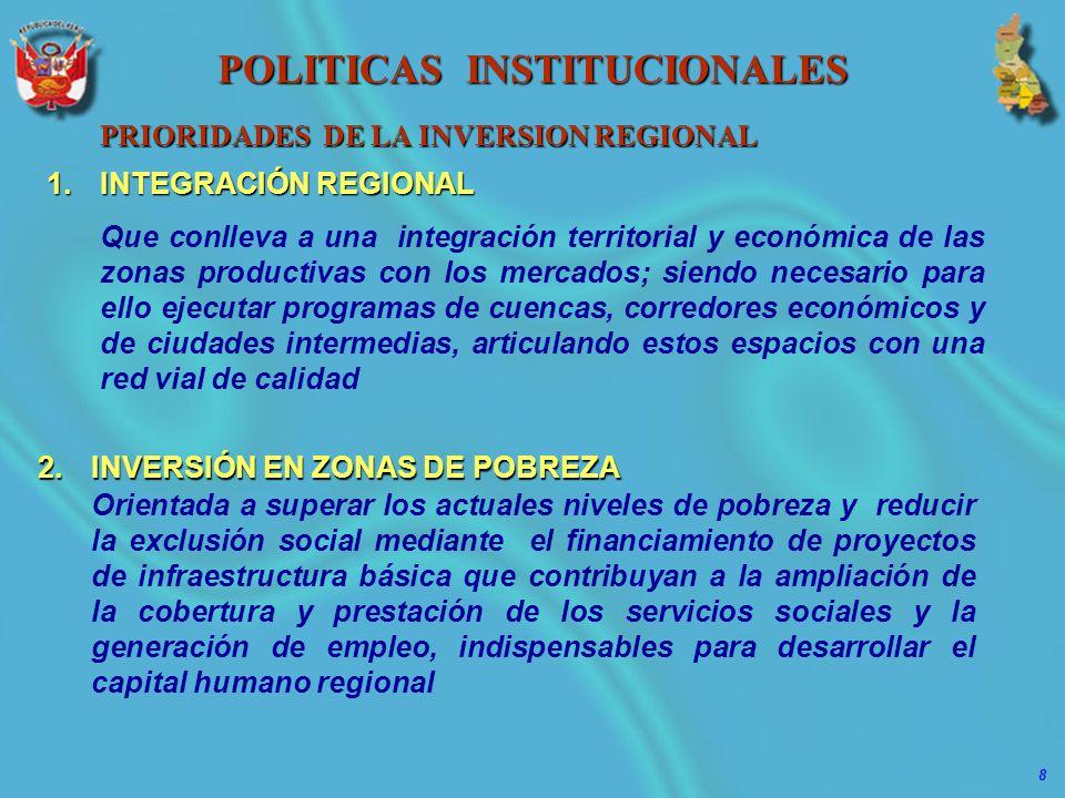8 POLITICAS INSTITUCIONALES PRIORIDADES DE LA INVERSION REGIONAL 1.INTEGRACIÓN REGIONAL Que conlleva a una integración territorial y económica de las