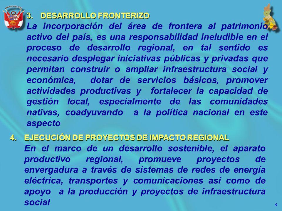9 3.DESARROLLO FRONTERIZO La incorporación del área de frontera al patrimonio activo del país, es una responsabilidad ineludible en el proceso de desa