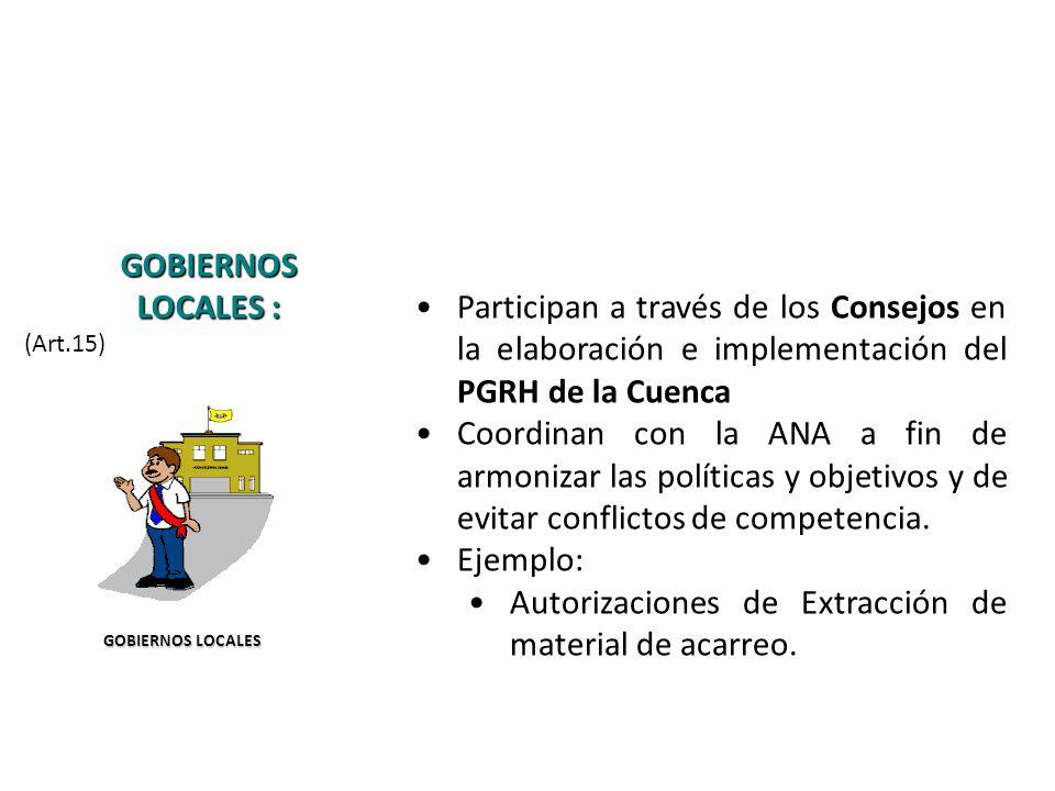 Participan a través de los Consejos en la elaboración e implementación del PGRH de la Cuenca Coordinan con la ANA a fin de armonizar las políticas y objetivos y de evitar conflictos de competencia.
