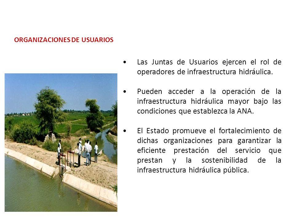 Las Juntas de Usuarios ejercen el rol de operadores de infraestructura hidráulica.