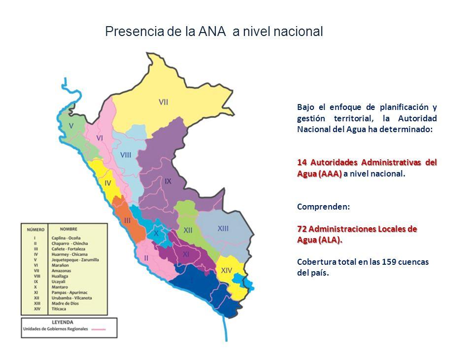 Bajo el enfoque de planificación y gestión territorial, la Autoridad Nacional del Agua ha determinado: 14 Autoridades Administrativas del Agua (AAA) 14 Autoridades Administrativas del Agua (AAA) a nivel nacional.