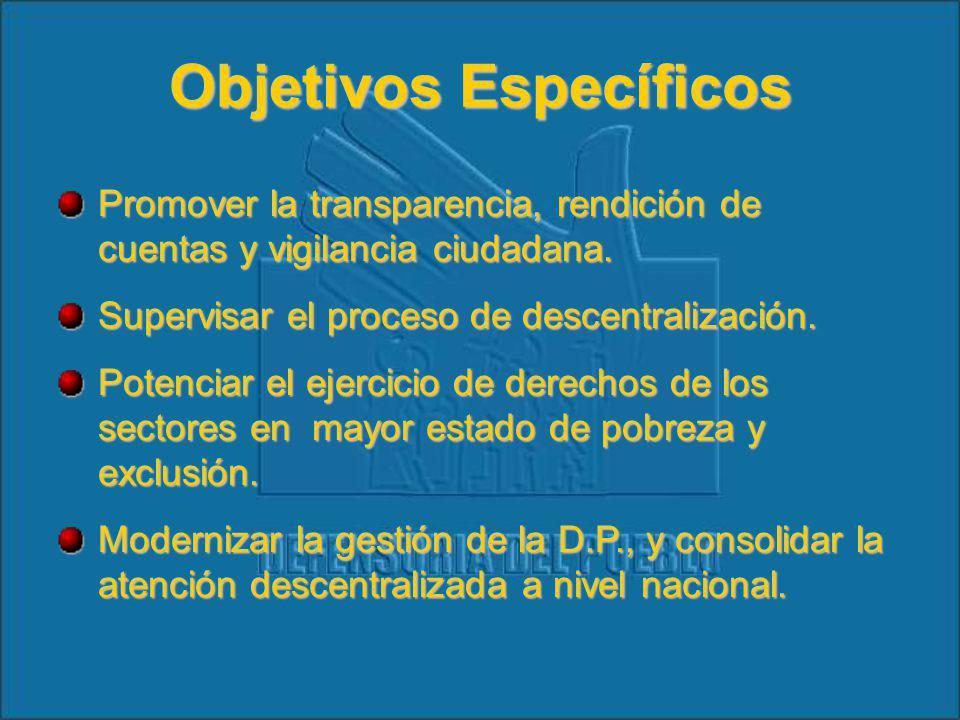 Objetivos Específicos Promover la transparencia, rendición de cuentas y vigilancia ciudadana.