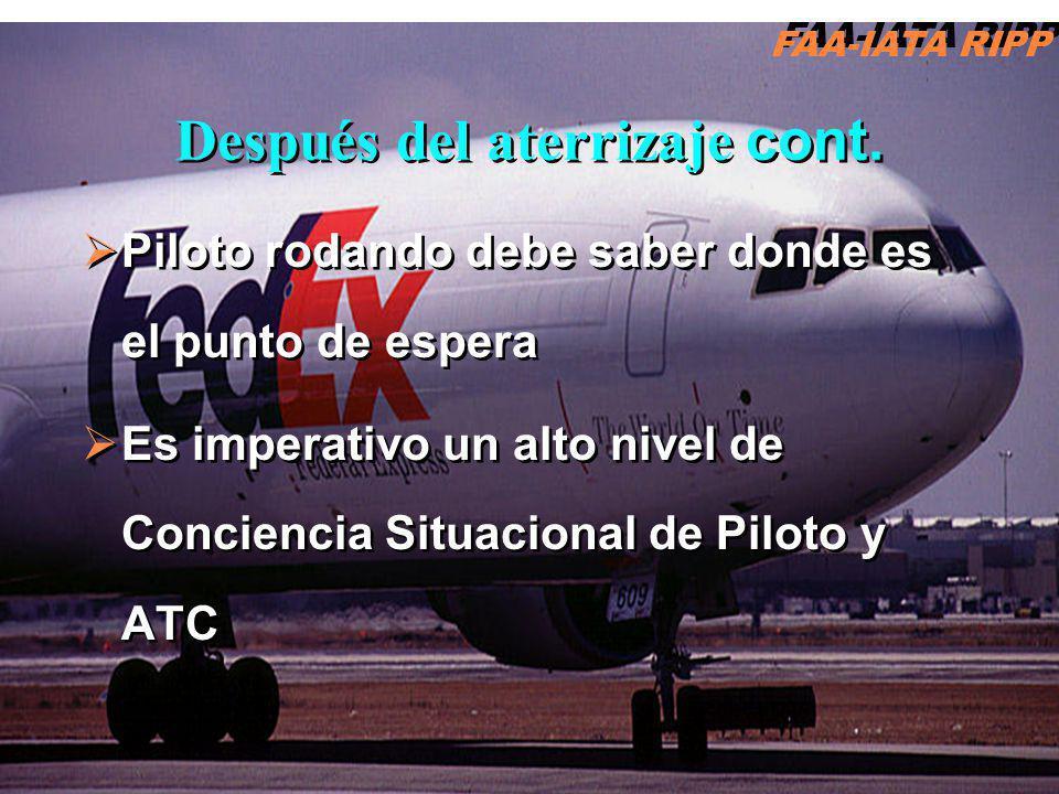 Piloto rodando debe saber donde es el punto de espera Es imperativo un alto nivel de Conciencia Situacional de Piloto y ATC Piloto rodando debe saber