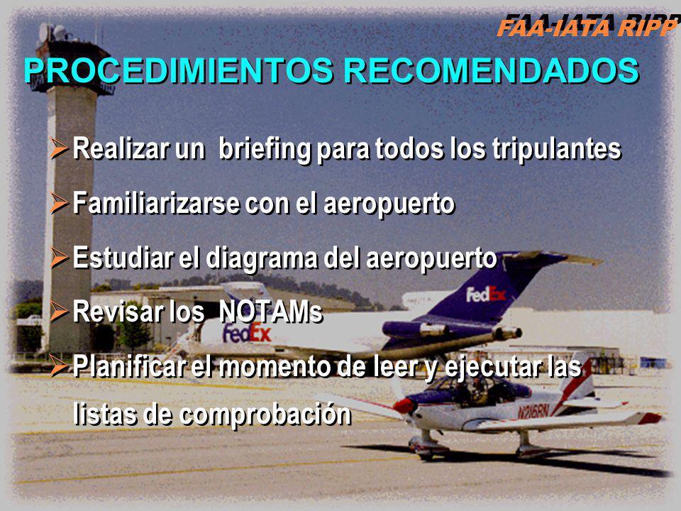 Realizar un briefing para todos los tripulantes Familiarizarse con el aeropuerto Estudiar el diagrama del aeropuerto Revisar los NOTAMs Planificar el