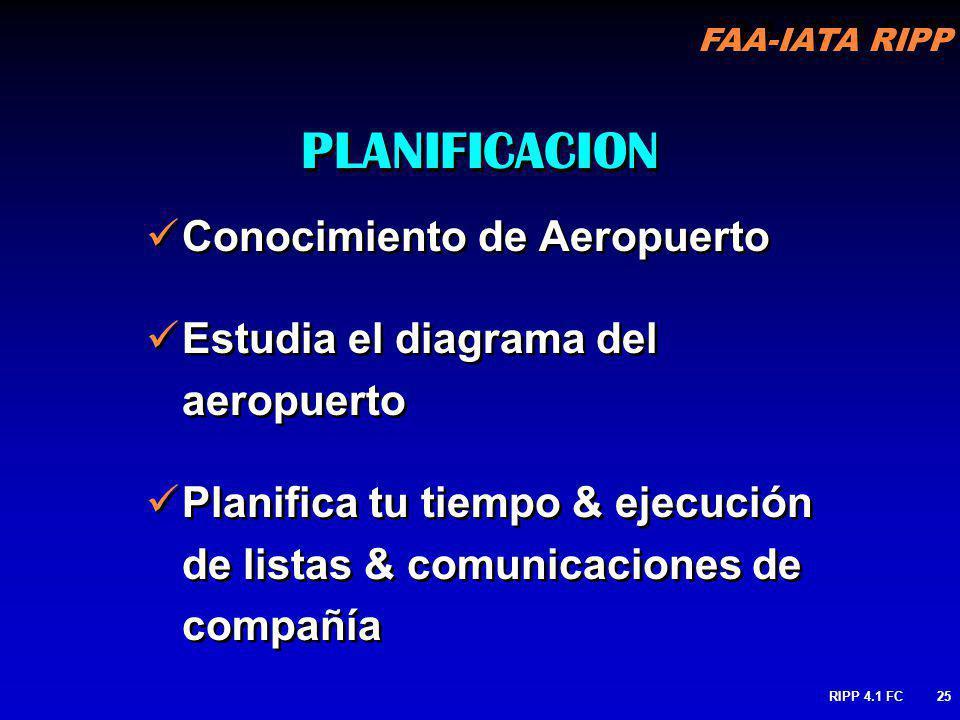 FAA-IATA RIPP RIPP 4.1 FC25 Conocimiento de Aeropuerto Estudia el diagrama del aeropuerto Planifica tu tiempo & ejecución de listas & comunicaciones d